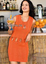 Летнее оранжевое платье с узлами на талии. Спицы
