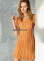 Оранжевое летнее платье с косами. Спицы