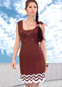 Коричневое летнее платье с сочетанием узоров. Спицы