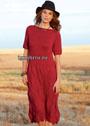 Элегантное темно-красное платье с узором из ромбов. Спицы