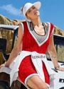 Спорт-шик. Красное платье с бело-серыми планками. Спицы