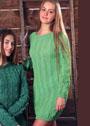 Светло-зеленое платье с косами. Спицы