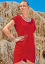 Красное мини-платье с косами и ребристым узором. Спицы