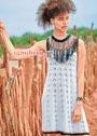 Летнее расклешенное платье в этническом стиле. Спицы