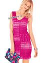 Розовое летнее платье с миксом ажурных узоров. Спицы