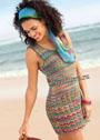 Летнее мини-платье с волнистым и ажурным узорами. Спицы