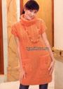 Туника персикового цвета с карманами. Спицы