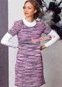 Меланжевое шерстяное платье в серо-бело-розовых тонах. Спицы