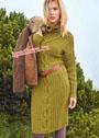 Оливковое шерстяное платье с косами и рубчиками. Спицы