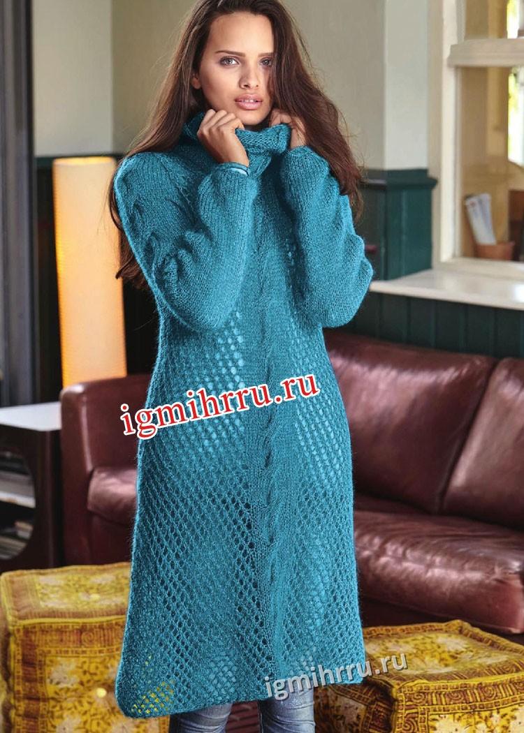 Вязаное платье с косой спицами
