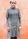 Шерстяное меланжевое платье в серых тонах, с косами и путанкой. Спицы