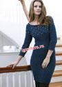 Синее шерстяное платье с отделкой шишечками. Спицы