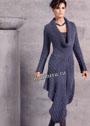 Серо-синее платье оригинального фасона. Спицы