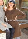 Коричневое шерстяное платье с рельефными узорами. Спицы