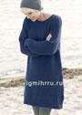 Теплое синее платье-туника, связанное полупатентной резинкой. Спицы