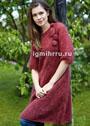 Бордовое мохеровое платье с объемным декором. Спицы