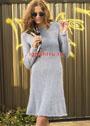 Женственное расклешенное платье с рукавами реглан. Спицы