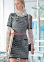Шерстяное платье с полосами из снятых петель. Спицы