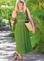 Длинное летнее платье с юбкой со складками. Спицы