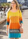 Разноцветное летнее платье с волнистым узором. Спицы
