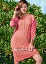 Коралловое летнее платье с ажурными ромбами. Спицы