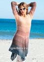Женственная туника с ажурными рукавами и ассиметричным низом. Спицы