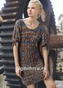 Платье со структурно-ажурным узором. Спицы