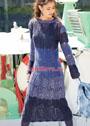 Платье с крупными ажурными ромбами. Спицы