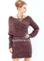Мини-платье с элегантной драпировкой шарфом-петлей. Спицы