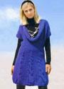 Синее платье-баллон с ниспадающим воротником. Спицы