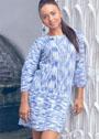 Меланжевое платье с дорожками и фантазийными ромбами. Спицы
