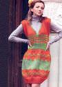 Оранжево-зеленый теплый сарафан с жаккардовыми узорами. Спицы