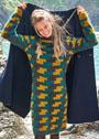 Теплое платье с геометрическим узором в технике интарсии. Спицы