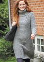 Шерстяное платье с крупным веерным узором. Спицы