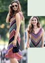 Разноцветное летнее платье в полоску. Спицы
