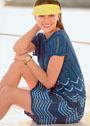 Синее летнее платье с волнистым узором. Спицы
