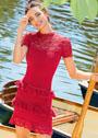 Красное облегающее платье с кружевными оборками. Спицы