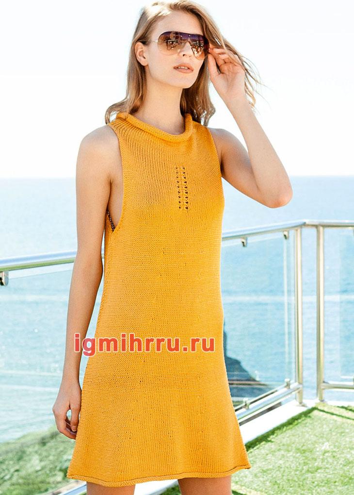 Лаконичное вязаное желтое мини-платье с заниженными проймами