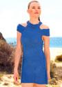 Синее летнее платье с открытыми плечами. Спицы