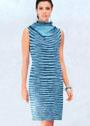 Сине-голубое платье с воротником-трансформером. Спицы