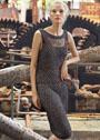 Платье-футляр с узорами из спущенных и перекидных петель. Спицы