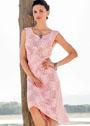 Розовое платье с фантазийным узором. Спицы
