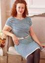 Платье в полоску с узором из снятых петель. Спицы