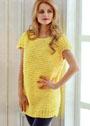 Желтое платье-кокон на толстых спицах. Спицы