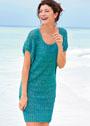 Легкое платье с ажурными полосами. Спицы