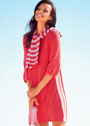 Платье с полосатым воротником-шарфом. Спицы
