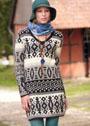 Теплое трехцветное платье с миксом жаккардовых узоров. Спицы