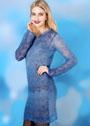 Ажурное мини-платье из нежного мохера с эффектом деграде. Спицы