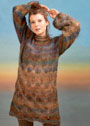 Мохеровое платье с узором из листьев и рукавами буф. Спицы