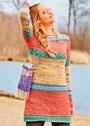 Многоцветное платье с узорами из снятых петель и жаккардом. Спицы